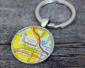 hollywood vintage map keychain   1967 Shell Gas Map of California   Hollywood California   traveler   geography