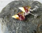 Crystal Heart Earrings Lilac Shadow Crystal Earrings Amethyst Drops Purple Heart Wild Heart Swarovski Heart Dangles Valentine Gift Wife Gift