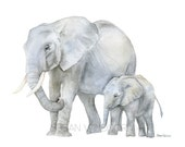 Elephants Watercolor Painting - Giclee Print Reproduction - 10x8 / 11x8.5 - Nursery Art - Mother and Baby