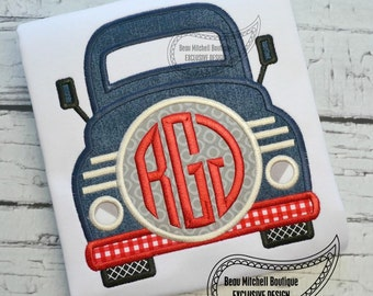 Truck front monogram applique
