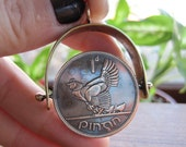 Spinning Vintage Ireland Bronze Penny Coin Pendant with Hen and Chicks in Handmade Brass Frame MADE TO ORDER.