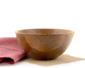 Wooden Red Oak Salad Bowl, Wood Oak Dish, Oak Fruit Bowl