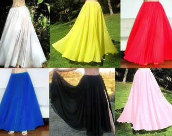 """AMEYNRA Belly Dance SKIRT Full Circle Sizes S M L Chiffon, New (from 60"""" wide)"""
