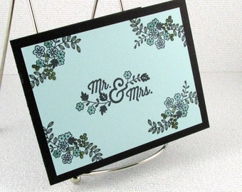 Wedding Card Handmade Marriage Couple Congratulations Best Wishes New Mr and Mrs Blue and Black