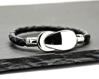 Silver Bracelet Love Knot Bracelet Mens Leather Bangle Mens Leather Bracelet Mens Jewelry Gift For Men Boyfriend Black Bracelet Under 40