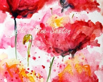 Dancing Red Poppies Galore 9x6 five bright sunny cheerful field of poppy blossoms Wall Art flower art gift ORIGINAL watercolour by CheyAnne