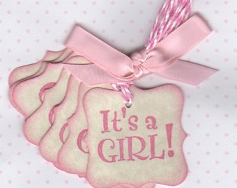 20 Baby Shower Favor Tags, It's A Girl Baby Girl Pink Thank You Gift Tags - Vintage Style