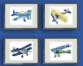 Vintage AIRPLANES boys nursery art prints,  blue green yellow gray planes taking flight children art set of four 8x10