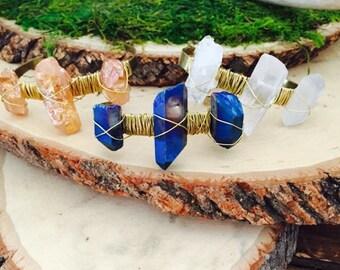 Trinity Quartz Crystal Cuff Bracelet/ Rainbow Titanium Quartz Crystal Bracelet/ Quartz Point Cuff/ Crystal Bangle/ Adjustable Bracelet