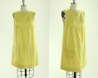 1960's Yellow Cotton Mini Dress M L Jr. Petites A-line
