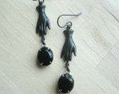 Victorian Hand Earrings Black Earrings Hand Dangles Vintage Style Hand Jewelry Neo Victorian Black Jewelry