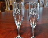 2 Engraved Monogrammed Champagne Flutes,  Wedding champagne flutes, Bridesmaid champagne flutes, Bridal party glasses