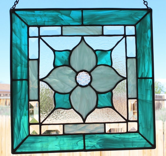 Handcrafted stained glass square teal seafoam beveled stained glass