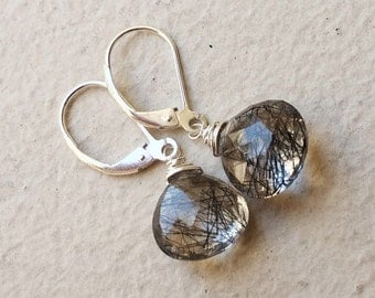 Rutilated Quartz Earrings. Silver, gold or rose gold