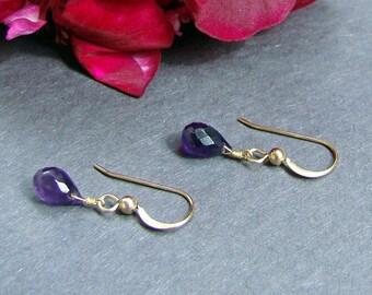 Petite Purple Amethyst Gold Earrings VIOLA. February birthstone. Choose metal