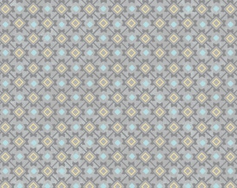 You & Me Point Check Gray from Adorn It - Full or Half Yard Yellow Gray Turquoise Diamond Check