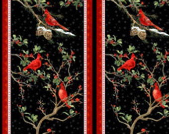 "The Cardinal Rule from Wilmington Prints - 23.5"" Panel Cardinals in Branches - Christmas or Winter Black and Red"