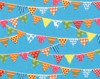 Bloomin' Fresh from Moda Fabrics - Full or Half Yard Bright Pennants Bunting on Sky Blue