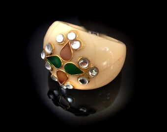 Kundan Ring,Indian fusion jewelry,US Size 7.5 Traditional Ring,Ethnic Marbled Jewelry Royal Jewellery by Taneesi