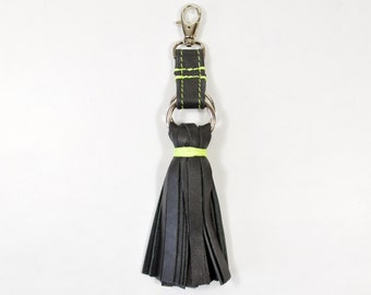 Handmade Black Leather Tassel Keychain Key Fob keyring.