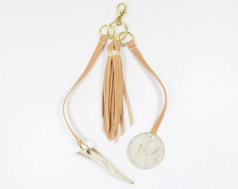 Handmade Veg Tan Leather Tassel & Antler Horn Keychain Bag Charm.