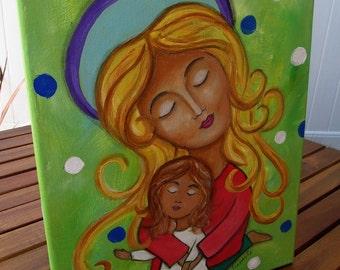 Folk Art Mother and Child Original Painting 11X14