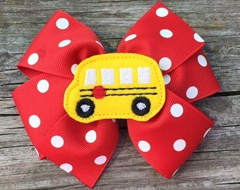 School Bus Hair Bow, Back to School Bows, Toddler Hair Bow, Girls Hair Bows, First Day of School Bows, Red and Yellow Bus Hair Bow