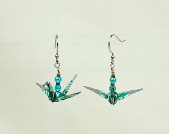 Peace Crane Earrings Hand-Made in Green Geometric Design, Origami, Eco-friendly