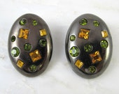 Vintage YSL Yves Saint Laurent Signed Earrings / Ear Clips Clip-on Rhinestone Huge Gunmetal Black / 1980s to 1990s