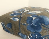 Dog Bed Cover   Large Blues/Whites Flowers on Grey Home Decor 22 square
