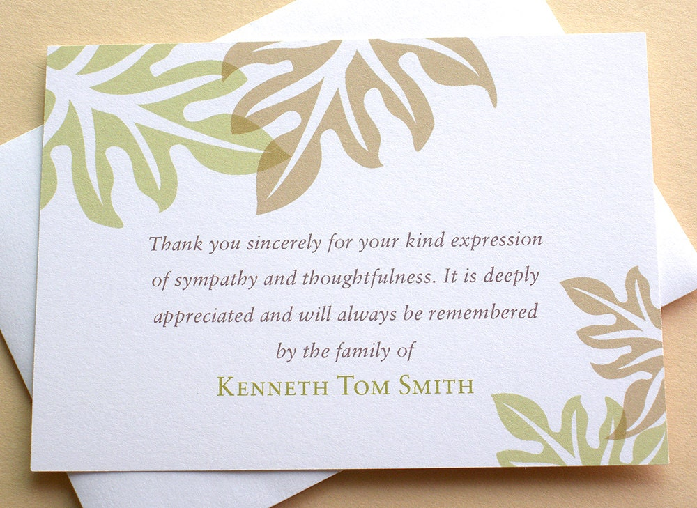 Sympathy Thank You Cards Brown and Green Leaves – Sympathy Thank You Notes