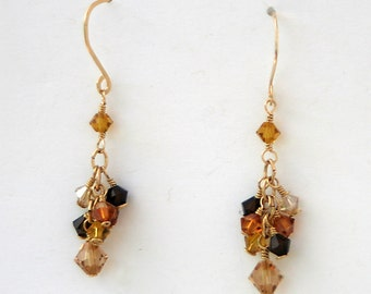 Crystal Cluster Dangle Woodland Brown Mixture Gold Fill Earrings - Cyberlily