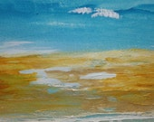 Sand and Surf Handprinted Mixed Media Original Matted 9X14