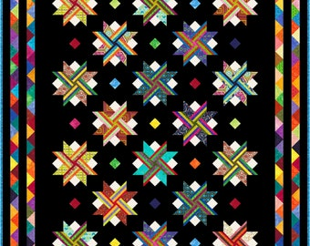 """VIVACIOUS - King Single 96"""" x 76"""" or Single 76"""" x 56"""" - Quilt-Addicts Pre-cut Patchwork Quilt Kit or Finished Quilt King Single size"""