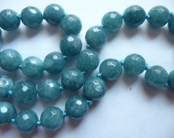 Aquamarine, Blue, Gemstone, 10mm, Faceted, Round, Jewelry Making Beads, Package Of 8