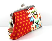 SALE Owls and Acorns in Rich Colors Cotton Clutch FREE SHIPPING