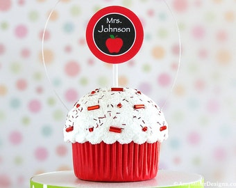 Personalized Teachers Gift Cupcake Christmas Ornament - Red Apple #CUP119