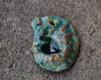 Ceramic Ammonite  pendant handmade Ammonite clay pendant organic earthy ammonite porcelain art bead artisan jewelry supplies potterygirl1