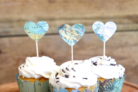 Vintage Map Heart Cupcake Toppers