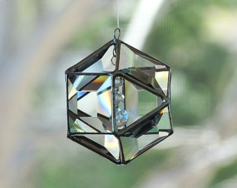 3D Faceted Clear Glass Mobile Globe Suncatcher - Glass Crystal and Silver Colored Ornament
