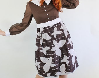 SALE - Vintage 1960s Dark Chocolate Brown White Butterflies Print Mod Dress