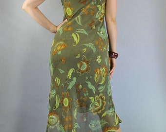 SALE - Vintage 90s does 30s Style Moss Green Floral Bias Dress