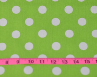 Green with White Polka Dot Cotton Fabric For Cute Dresses and Many Sewing Projects