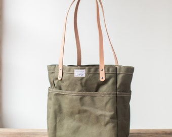 Campus Tote in Olive Drab Canvas & Natural Veg Tan Leather