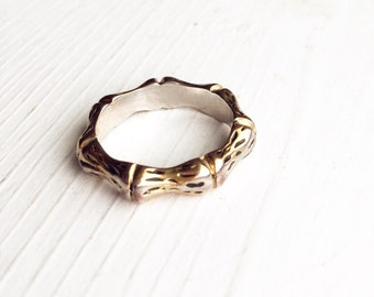 Vintage Bamboo Ring Band Size 6 / Simple Bohemian Jewelry / Travel Lover Wanderer Gypsy Hippie Boho Style