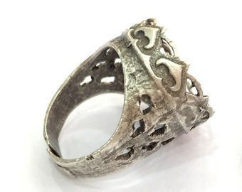 Adjustable Ring Blank (16mm Blank) , Antique Silver Plated Brass G3497