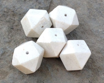 Vintage off-white marble bead - sold individually