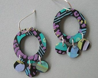 Aqua, Lilac, Light Green Artisan Painted Acrylic Dangle Charm Earrings