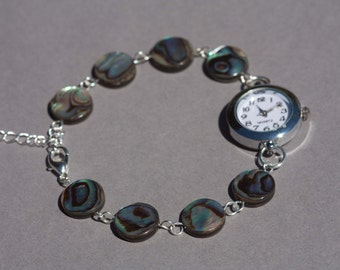 Abalone shell bracelet watch, womens wrist watch