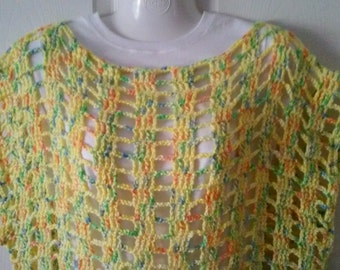 Crocheted Swimsuit Cover Up  Tunic  Sweater Bright Fun Colors